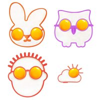 Silicone Egg et Pancake Mold Owl Bunny Sun Clound the Guy avec des lunettes Skull Frog Patterns 6pcs / lot DEC444