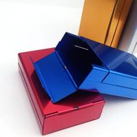 Diapositive Boîte à cigarettes En Alliage en aluminium Ensemble de rangement en métal Tenant 20pcs Capacité Couvercle élastique automatique Cinq outils de fumer