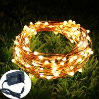 10M 20M 30M 40M 50M Holiday LED String Light Cable de cobre Starry Rope Impermeable Flexible Fairy Lights Party Garde + 12 V Adaptador de corriente