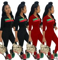 Fashion women' s sportswear red green stripes suit activ...
