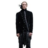 Chaqueta asimétrica de los hombres de Steampunk Chaqueta de trago de cola gótica con plumas Collar de poliéster de alto cuello de los hombres de invierno