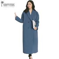 여성용 양모 블렌드 2021 겨울 의류 여성 자켓 긴 모직 코트 슬림 가을 여성 캐주얼 대형 웜 코트