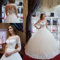 2018 vestidos de casamento vestidos de bola jóias 1/2 manga chão comprimento vestidos de noiva com laço applique plus tamanho vestido de noiva