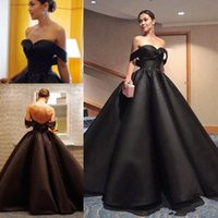 Black Ball Gown Prom Dresses Puffy Off The Shoulder Beads Se...