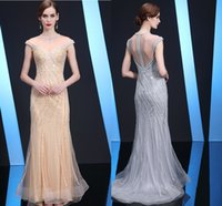 New Fashion Evening Dresses Heavy Beaded Champagne Gold Long...