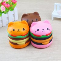 Nouveau Squishy Chat Head Burger Slow Rising Soft Animal Jouets Cat Head Hamburgers Simulation PU Lente Rebond Décompression Jouet