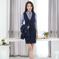 Trajes de dos piezas conjuntos de negocios de las mujeres con falda y chaleco chaleco Conjuntos ropa de trabajo de las señoras desgaste uniformes de oficina