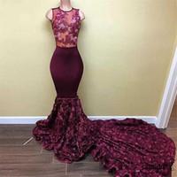 Barrer la flor elegante Rose 3D Tren Prom Vestidos Apliques vestido de fiesta formal magnífico Borgoña africana largo de la sirena Vestidos de baile Vestido