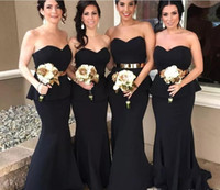 Fashion Sweetheart Black Mermaid Long Bridesmaid Dresses Mai...