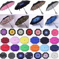 C-후크 손 방풍 역 접는 우산 더블 레이어 반전 자체는 인사이드 아웃 비 보호 우산 FBA HH7-946를 제공 할 수있는 스탠드