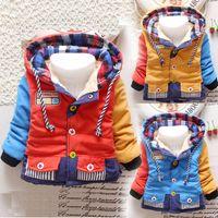 2016 vêtements pour enfants manteau garçons hiver vestes chaudes à manches longues couleur correspondant épaisse survêtement à capuchon