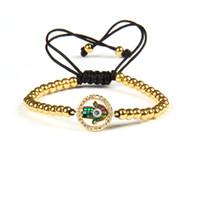 Gioielli religiosi Braccialetti dell'amicizia Colori Cz Abalone Shell Hamsa Fatima Bracciale macramè a mano con perline in acciaio inossidabile da 4 mm