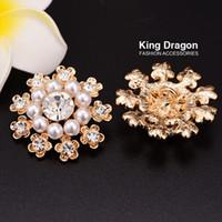 Sparkly Rhinestone pérola botões de pérola flor Botões usados no convite ou decoração Shank Voltar 20pcs / lot 31MM KC cor do ouro KD139