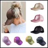 9 Colors CC Glitter Ponytail Casquette Baseball Cap Fitted H...