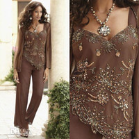 Classy Beaded Mother Of The Bride Pant Suits With Jackets V ...