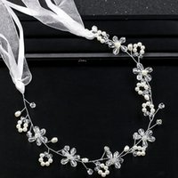 White pearl crystal handmade headwear hot dress accessories ...