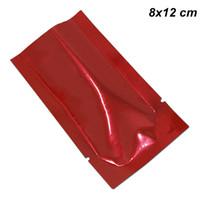 200pcs 8x12 cm de aluminio rojo al vacío Mylar bolsas de almacenamiento de alimentos de calidad Mylar Foil envolturas planas para café en polvo de té Open Top bolsas de papel de aluminio