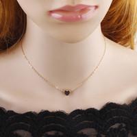 2018 Мода Dainty Choker ожерелье золото / серебро медь персик сердца Choker Маленький Шарм Подвеска для женщин