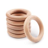 70mm faggio all'ingrosso nuovi dentizione anelli per bambini in legno baby accessori per il braccialetto della collana del bambino che fa trasporto libero 2018 vendita calda