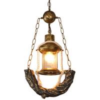Lámpara colgante de pasillo de vidrio de queroseno de resina de bronce vintage Lámpara colgante de escalera Lámpara colgante de barra de barra de café americano