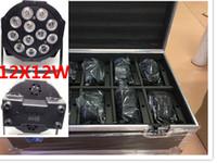 10pcs 12x12W + flightcase + 1.2m Dmx LED Cabo plano SlimPar Quad Luz 4em1 LED DJ Wash Luz Stage dmx lâmpada de luz 4/8 Channes