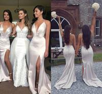 Seksi Saten Mermaid Gelinlik Modelleri Derin V Boyun Yan Yarık Criss Çapraz Geri Beyaz fildişi Boho Nedime Önlük Düğün Elbiseleri