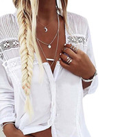 Women White Shirt Long Sleeve Buttons Sexy Deep V- Neck Blous...