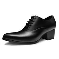 Hauteur croissante concepteur italien robe formelle homme en cuir véritable talons hauts Oxfords pointu Toe hauteur augmentant des chaussures à la main pour hommes