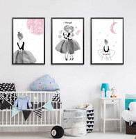 Watercolor Black Pink Ballet Girl Friends Poster Nordic Room...