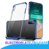 Galvanoplastia flexível suave tpu case para iphone 8 plus x xres max xs plus clear case ultra-slim case capa para samsung s8 s9 plus nota 9