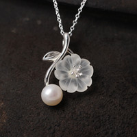 Fashion charm 925 silver jewelry Pearl Pendant Necklace Crys...