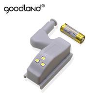 Goodland LED Night Light Automatic Sensor Light Wardrobe Cabinet Inner Hinge Lamp With Battery For Cupboard Closet Kitchen