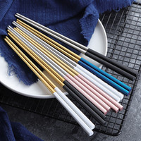304 Stainless Steel Chopsticks Gold Black Silver Square Chop...
