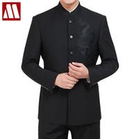 Herren Einreiher Anzüge Sticken Drachen Anzug Sets Mode Chinesischen Tunika Anzug Männer Casual Schwarze Blazer Jacke und Hose