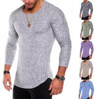 Le plus chaud vente nouvelle mode rayé patchwork arc ourlet à manches longues t-shirt pour les hommes ras du cou coton plus la taille s à 3xl casual t shirt