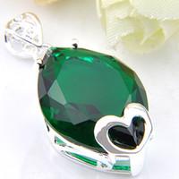 Luckyshine Classic Charms Heart Blue Green Cubicジルコニア宝石シルバーペンダント名女の子の休日の結婚披露宴