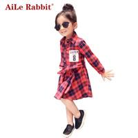 AiLe Coelho Super 8 Impressão Roupas Infantis Criança Roupas de Algodão de Manga Longa Do Bebê Vestido Da Menina Crianças Meninas Vestidos de Princesa Xadrez