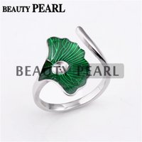 5 Pieces Big Green Leaf Ginkgo Ring Settings 925 Sterling Si...