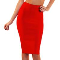 Beaokey Moda Kadınlar Etek 2018 Yeni Diz Boyu Ince Yüksek Bel Kalem Bandaj Etek Sarı Beyaz Kırmızı