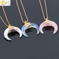 CSJA Naturstein Crescent Half Moon Halskette Anhänger mit Kette Gold Farbe Draht gewickelt für Frauen Rosenquarz Kristall DIY Schmuck F063