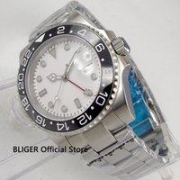 Sapphire Glass BLIGER 40mm White Sterile Dial Black Ceramic ...