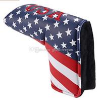 American USA Stars Stripes Flag Putter Cover Headcover Envío Gratis Cabeza de Golf Blade Style
