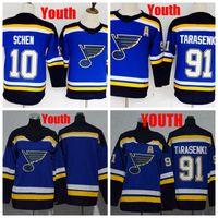 2018 camisetas Juventude St. Louis Blues 91 Vladimir Tarasenko 10 Brayden Schenn crianças hóquei camisola barata Tarasenko Meninos costurado um remendo