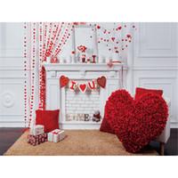 Romantic Valentines Day Photography Fondali In Vinile Digitale Stampato Rose Rosse Floreale Amore Cuore Decor Studio Foto Riprese Sfondi Indoor