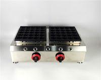 Poêles à gaz à double chaudière en acier inoxydable avec machine anti-adhésive pour faire des gaufres à la poêle Poffertjes avec 50 moules