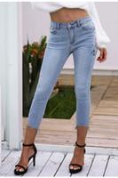 Полиэстер Птица Цветочные вышиванки Джинсы женские повседневные джинсы с высокой талией Длина икры Брюки Голубые длинные джинсовые брюки Женщины в клетку