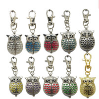 Vintage Owl Fob Pocket Watch Necklace There Chains Hanging P...