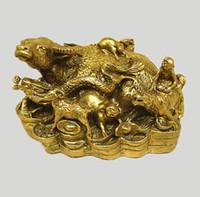 Rame cinese YELLOW Stato degli animali Feng Shui Bronzo Ottone Artigianato d'arte feroce Matrimonio Home Hotel Decorazione CR021