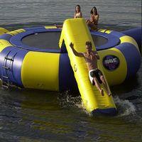 Trampolim de água + blob Bouncing Bag + slide de diâmetro trampolim inflável ou inflável bouncer parque aquático usado