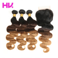Ombre malaysian body wave Human Hair Bundles with Closure Re...